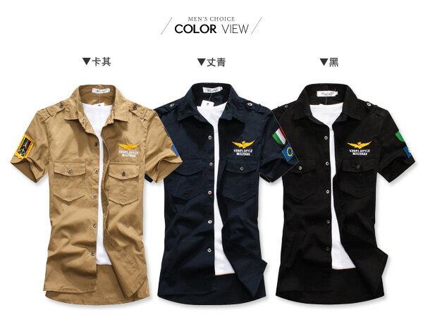 ☆BOY-2☆【PPK83008】短袖襯衫美式潮流軍裝雙口袋老鷹襯衫 1