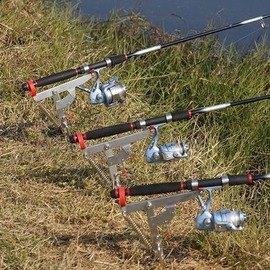 【自動魚竿起竿支架-三代-竿托長20-地插6*19.5cm-1套/組】不銹鋼 三代釣魚高彈力海杆彈簧竿架炮臺架杆分三檔可調靈敏度-76017