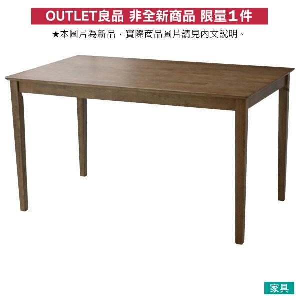 ◎(OUTLET)實木餐桌 SOLID2 135 MBR 橡膠木 福利品 NITORI宜得利家居 0