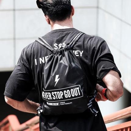 學生束口袋抽繩雙肩包男女拉繩布袋防水輕便簡易運動籃球健身背包『xxs339』