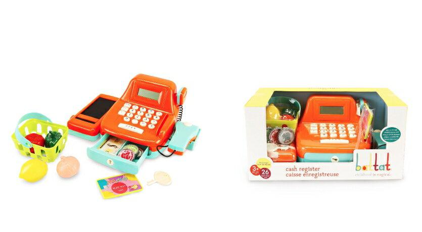 【淘氣寶寶】 美國 B.Toys 感統玩具 露卡電子收銀機-南瓜色 PlayCiRcle系列