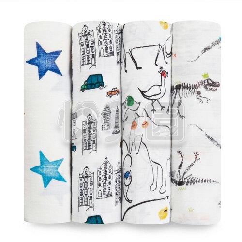 美國aden+anais輕柔新生兒包巾(4入)-塗鴉系列AA2068【悅兒園婦幼生活館】