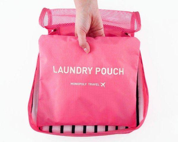 旅行衣物收納組 M號 行李袋整理包 格紋袋 網紋袋 登機包 洗漱袋 盥洗袋