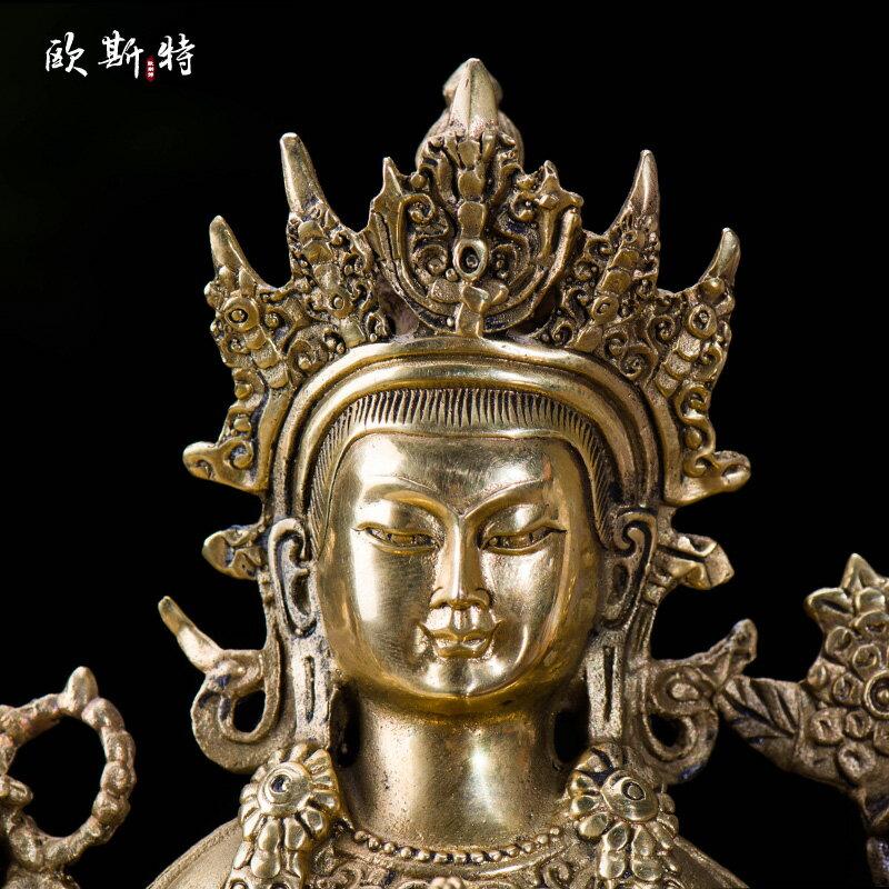國產佛像仿尼泊爾7寸純銅 黃銅 四臂觀音 觀音菩薩佛像 黃銅胚質