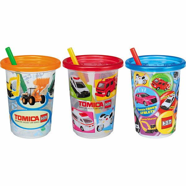 X射線【C835394】Tomica 塑膠吸管杯(3入),水瓶/隨身瓶/直飲水壺/學習杯/漱口杯/果汁杯/日本製