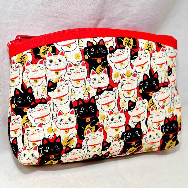 招財貓拉鍊零錢包手拿包帆布質日本製