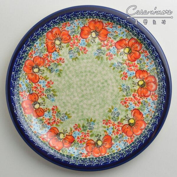 波蘭陶繽紛紅卉系列圓形餐盤陶瓷盤菜盤點心盤圓盤沙拉盤27cm波蘭手工製