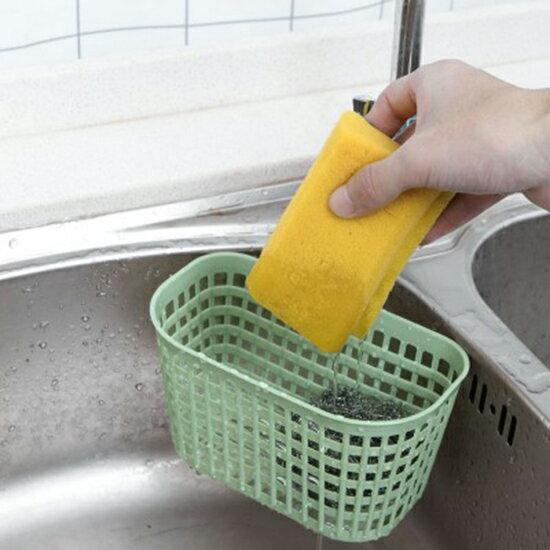 ♚MY COLOR♚簡約塑料瀝水籃 廚房 掛籃 收納藍 仿籐編 掛鉤 瀝水 糖果色 可懸掛 收納掛籃【P653】