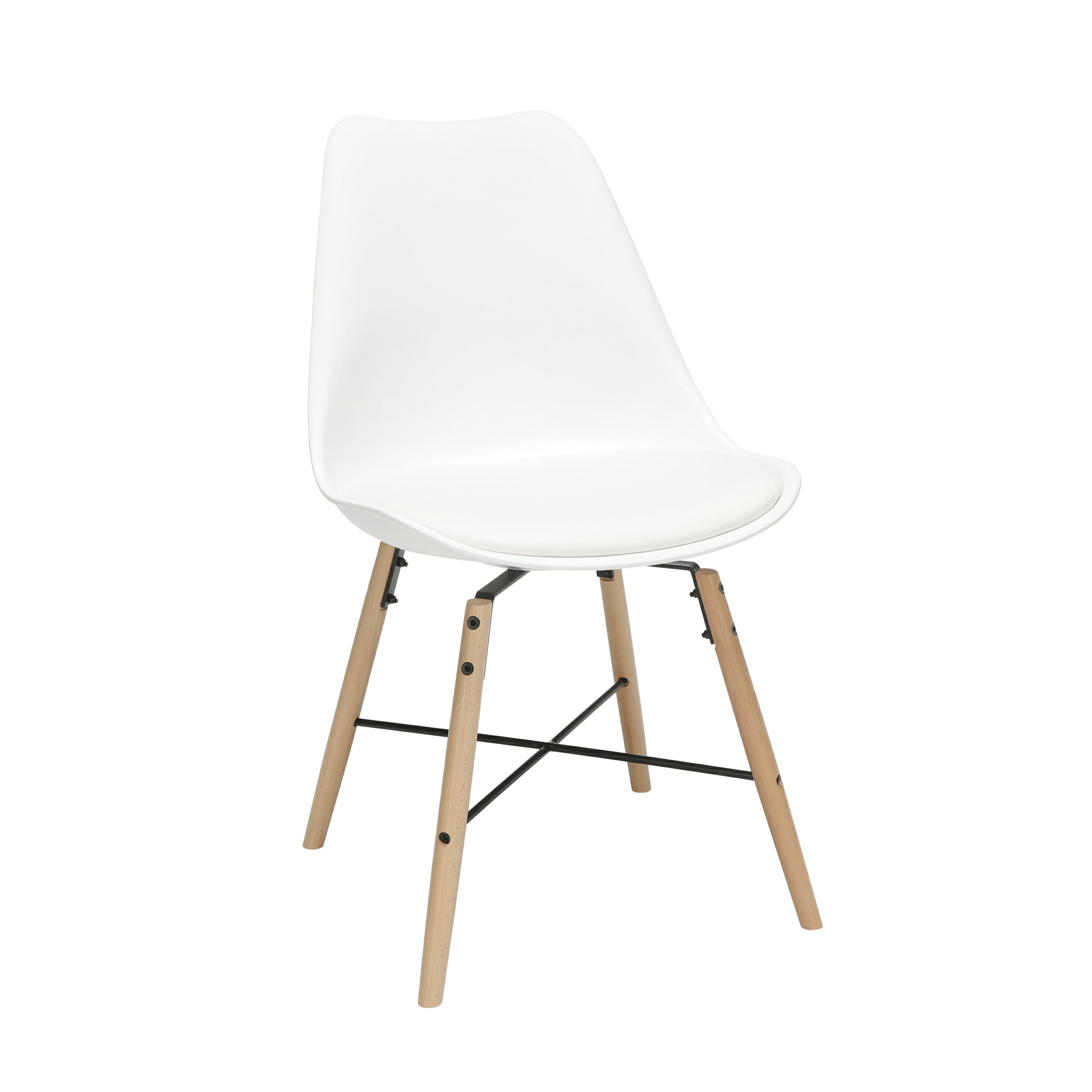 Awe Inspiring Ofm 161 Collection Mid Century Modern 4 Pack 18 Plastic Molded Dining Chairs With Vinyl Seat Cushion Beechwood Legs With Wire Accent In White Pabps2019 Chair Design Images Pabps2019Com