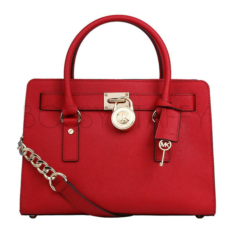 <br/><br/>  MICHAEL KORS 30S2GHMS3L 經典Logo鎖頭紅色皮革鏈條背帶中號手提斜背方包 Hamilton Saffiano Leather Medium Satchel red<br/><br/>