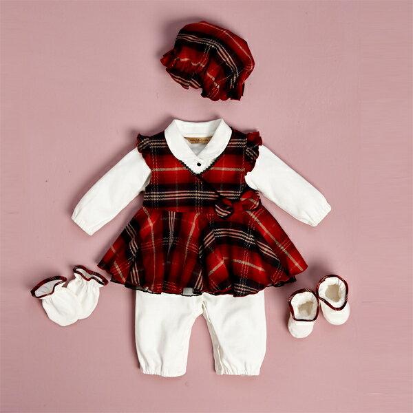【金安德森】寶寶禮盒 - 甜美蝴蝶結背心裙+兔裝(紅色) (彌月禮盒)