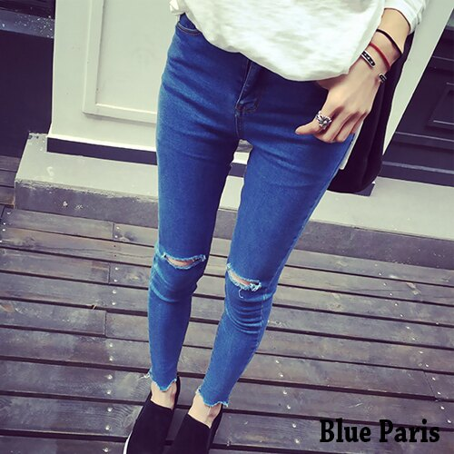 牛仔褲 破雙膝磨破牛仔長褲 九分褲 小腳褲 窄管褲 丹寧褲~23357~~S~L~Blue