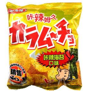湖池屋 咔辣姆久平切洋芋片-咔辣海苔口味(小) 36g