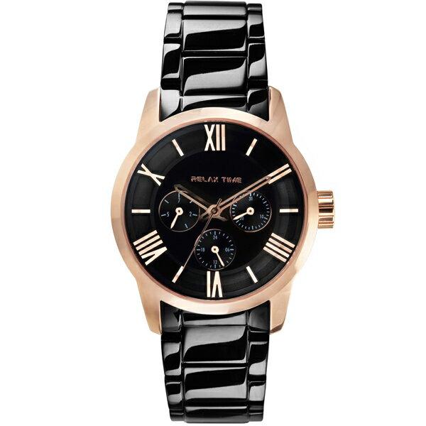 Relax Time RT-65-5L 對錶系列黑金時尚腕錶/黑面(小)38mm