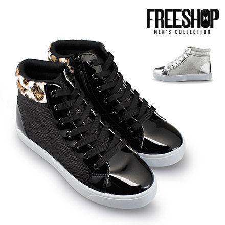 休閒鞋 Free Shop【QSH0578】日韓風格閃亮拼接質感中高筒綁帶運動休閒鞋 二色 (J63) MIT台灣製