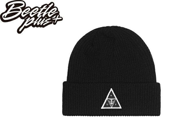 BEETLE PLUS 西門町經銷 全新 美國品牌 HUF X OBEY BEANIE 人臉標 反摺 黑 素面 百搭 經典 毛帽 針織帽 100030089BLK OB-377 0
