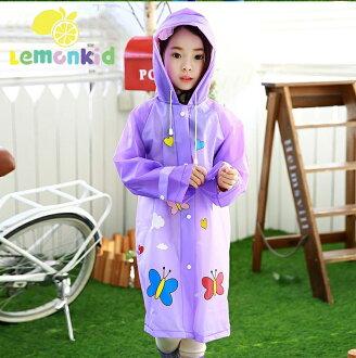 Lemonkid檸檬寶寶◆正韓蝴蝶星球造型EVA兒童雨衣-紫色蝴蝶