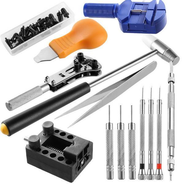 14pcs Watch Repair Tool Kit Case Opener Link Spring Bar Band Pin Remover Hammer 5