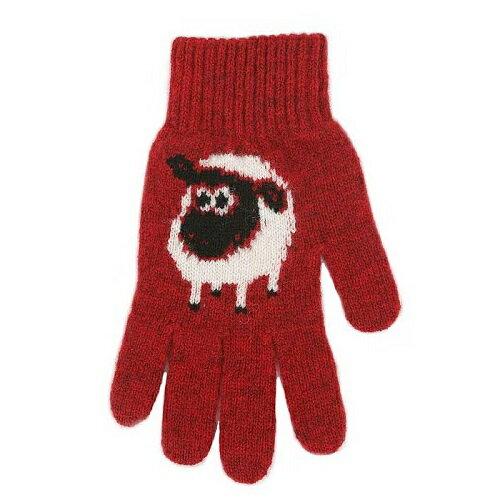 【紅色】紐西蘭100%美麗諾羊毛手套*羊咩咩