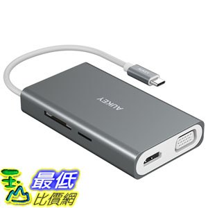 [107美國直購] 集線器 AUKEY USB C Hub [ALL IN ONE] with Ethernet, 100W Power Delivery, 4K HDMI, VGA, SD/TF C