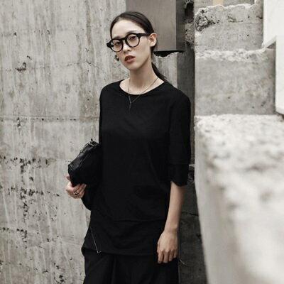 短袖T恤中長款-純色假兩件割邊明線女上衣73sl35【獨家進口】【米蘭精品】