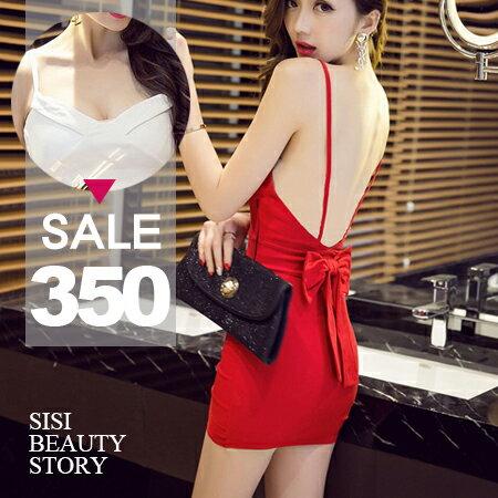 SiSi Girl:SISI【D6140】性感夜店背蝴蝶結裝飾細肩吊帶無袖背心包臀連身裙洋裝