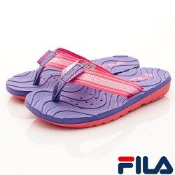 FILA頂級童鞋 輕量排水拖鞋款 FO34R-955紫粉(中大童段)