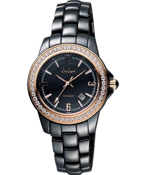 清水鐘錶 Diadem 黛亞登 菱格紋晶鑽陶瓷腕錶 黑 玫塊金 8D1407-551RGD-D 35mm