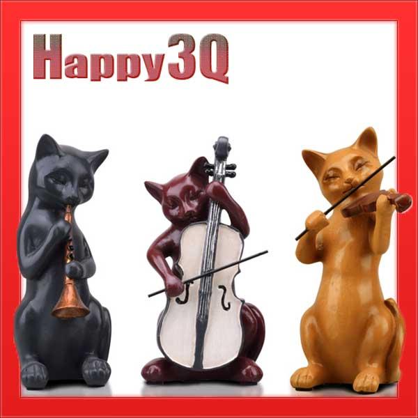 田園創意歐美復古風質感書房客廳嗩吶大提琴小提琴音樂樂團貓咪擺飾-三件組【AAA1140】