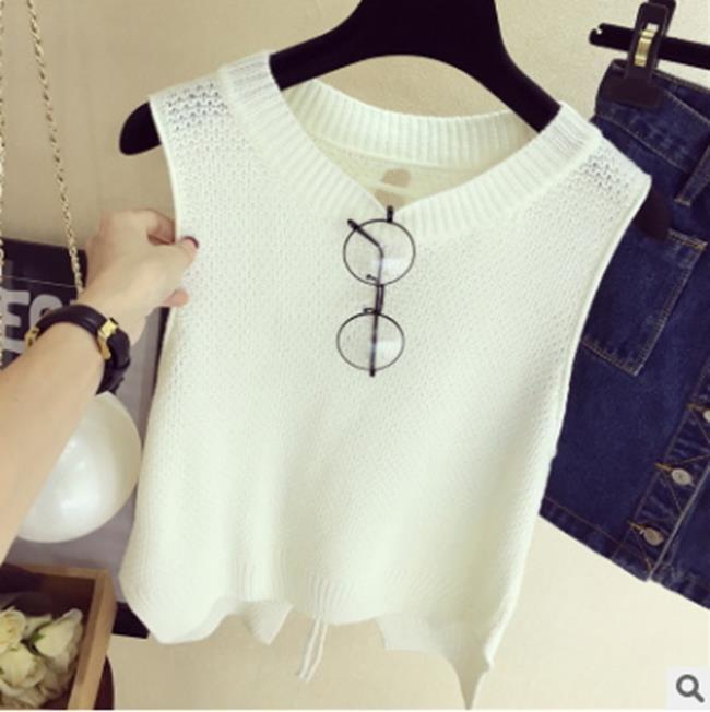 50%OFF SHOP新款韓版寬鬆無袖針織背心(4色)【G029480C】-洋裝襯衫一字領短T罩衫吊帶裙