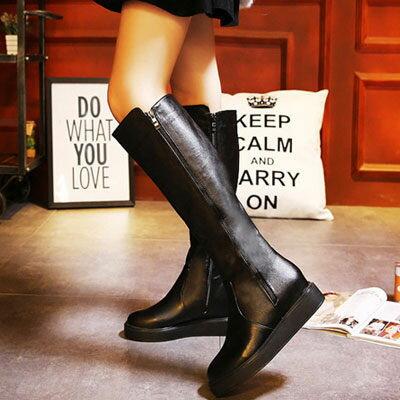 ☼zalulu愛鞋館☼ KA172a 現貨出清 高筒厚底雙拉鏈騎士長靴-黑37