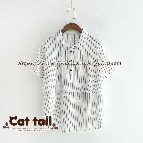 《貓尾巴》LZ-03085小清新文藝翻領彩色印花短袖襯衫(森林系日系棉麻文青清新)