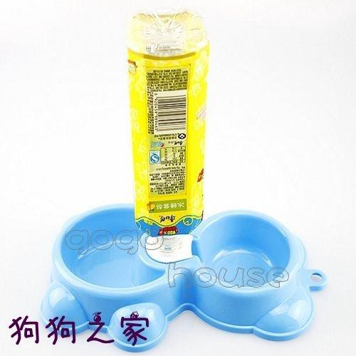 ☆狗狗之家☆小熊造型 飲水頭 雙碗 自動飲水器 食盆 狗碗(四色)