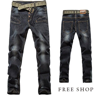 Free Shop【QR30211】日韓街頭風格刷色破壞多扣裝飾剪裁水洗單寧牛仔褲牛仔長褲‧黑色