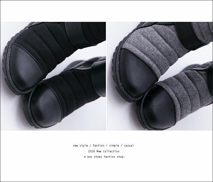 格子舖*【KDF8778】雜誌韓版百搭毛呢皮革 魔鬼氈穿脫 保暖柔軟內刷毛 隱形內增高中筒靴子 2色 2