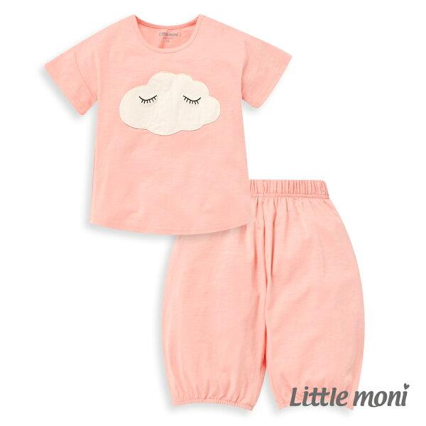 Littlemoni家居系列雲朵短袖套裝-粉紅