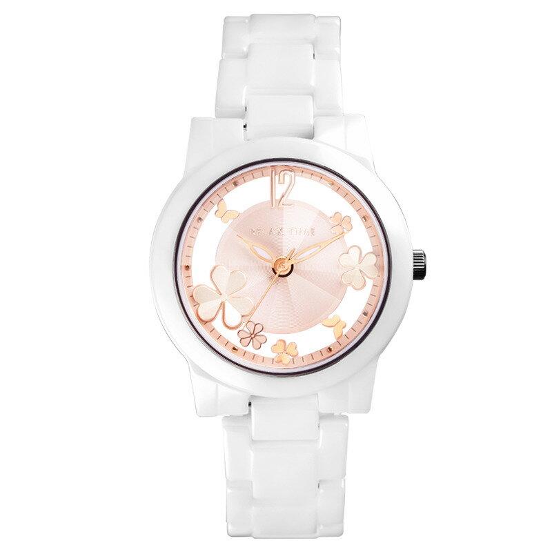 ►聖誕節禮物◄ RELAX TIME RT-80-3 Garden系列 鏤空陶瓷腕錶 送手環 玫瑰金 38MM 3