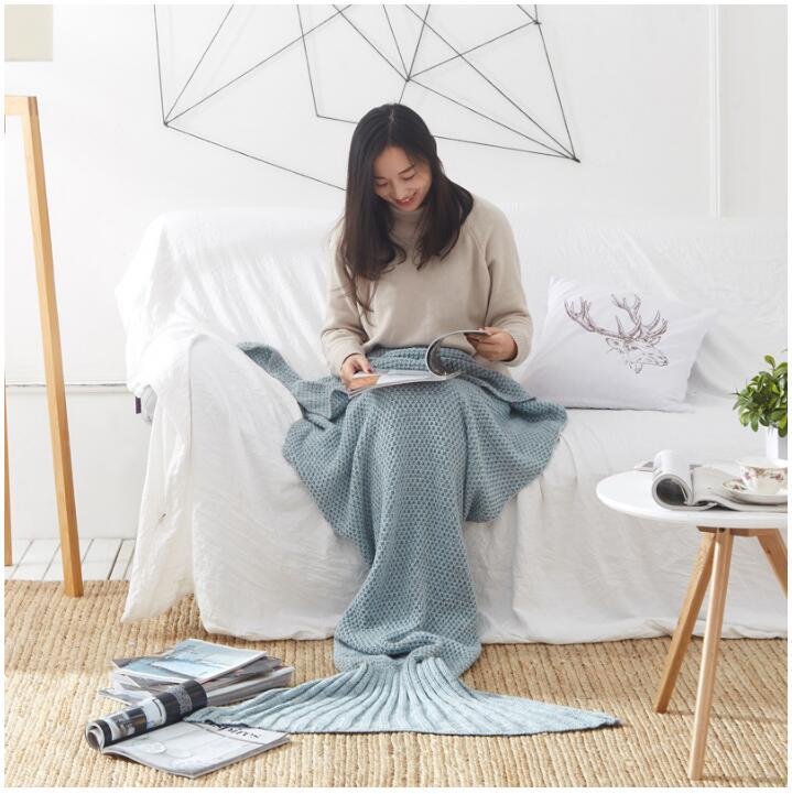 【葉子小舖】美人魚尾巴針織毛毯/沙發毯/空調毯/小涼被/舒適保暖/暖腳/生日禮物/交換禮物