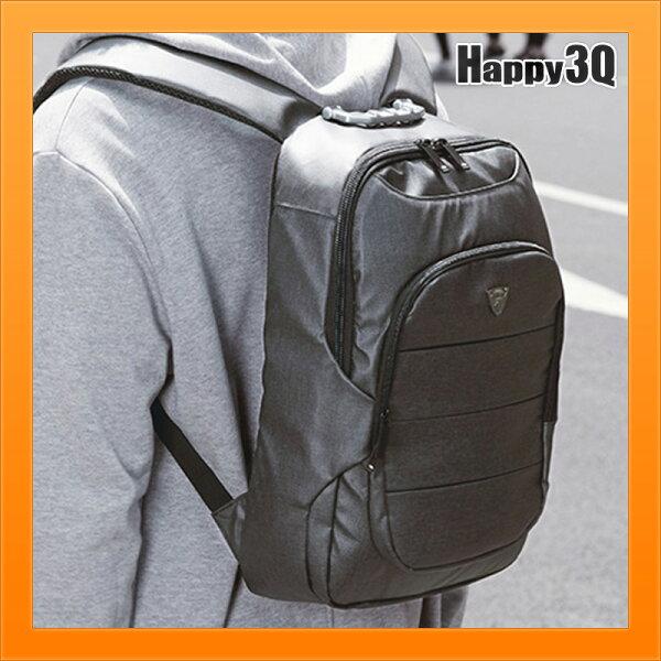 雙肩背包商務雙肩包男大容量手提包多功能電腦旅行包黑色-黑灰【AAA5145】