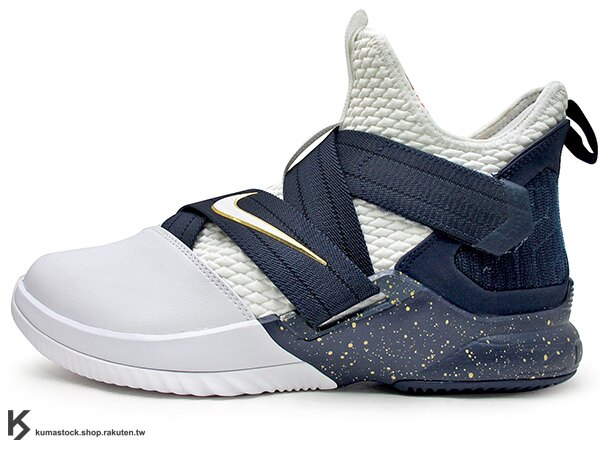 2018 NBA 小皇帝 JAMES 子系列代言鞋款 NIKE LEBRON SOLDIER XII 12 SFG EP 白深藍金 活動黏扣帶 無鞋帶設計 前、後 ZOOM AIR 氣墊 耐磨橡膠底 輕量化 籃球鞋 (AO4055-100) 0518