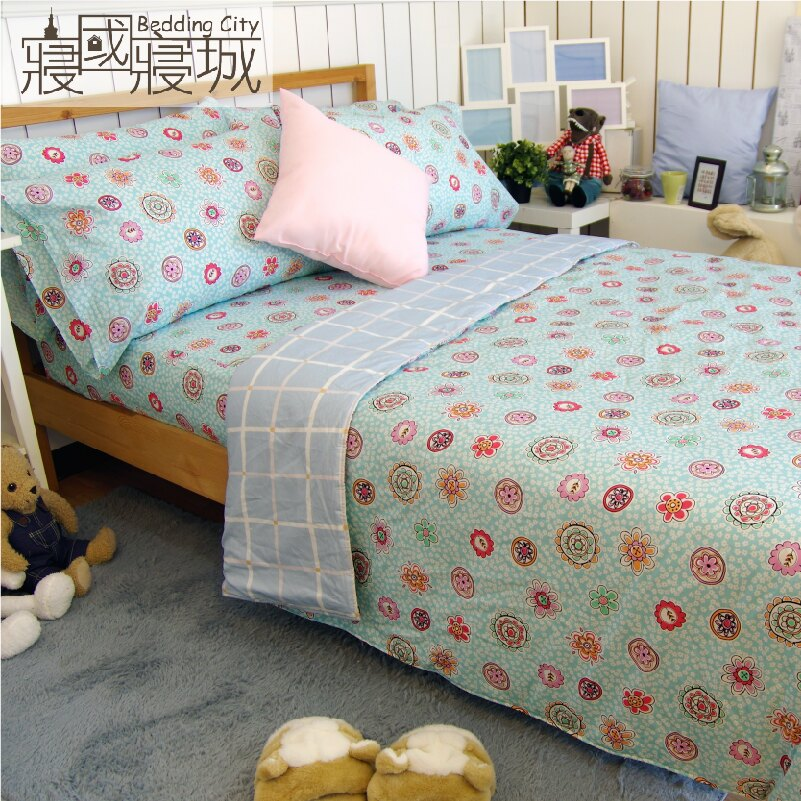 加大雙人床包涼被4件組-花樣格紋 【精梳純棉、吸濕排汗、觸感升級】台灣製造 # 寢國寢城 3