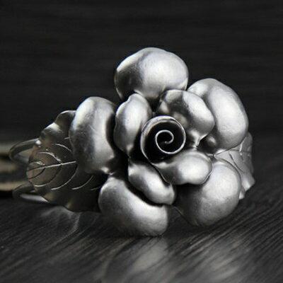 ~純銀手環 復古泰銀手鍊~ 獨特花朵 生日情人節 女飾品73gg134~ ~~米蘭 ~