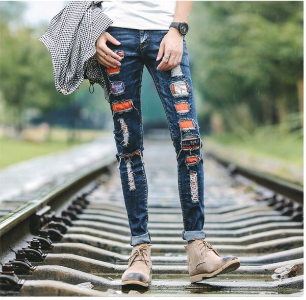 FINDSENSE品牌韓國新款潮流個性緊身小腳牛仔褲男破洞貼布