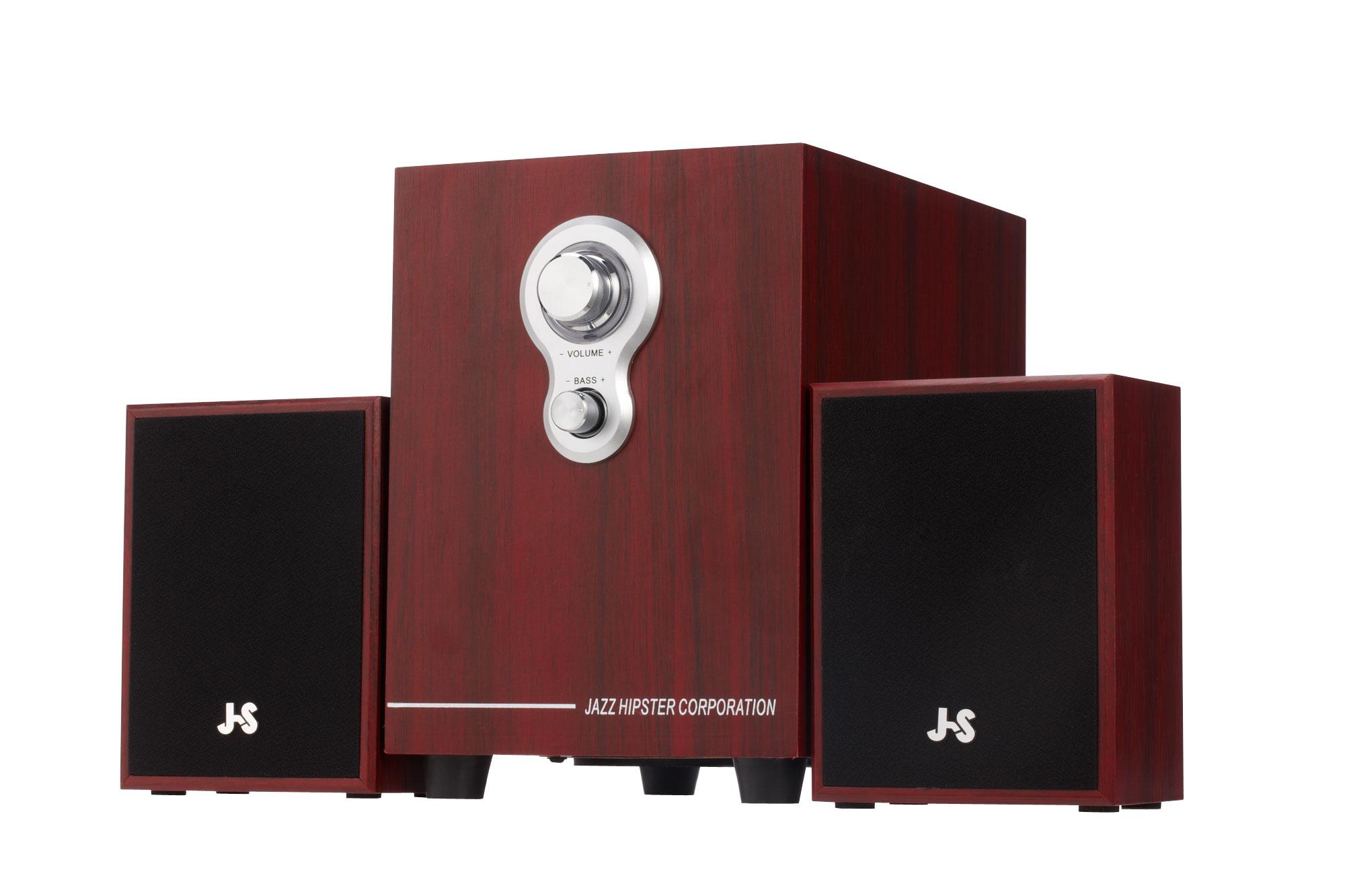 【迪特軍3C】JS JY3080 全木質多媒體喇叭 4吋重低音 可讀取USB/SD 主音量+低音旋鈕