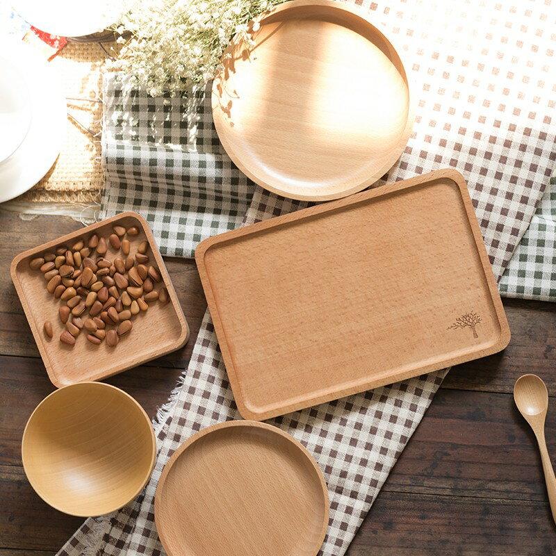 咖啡托盤 日式木盤子長方形實木盤櫸木托盤餐盤茶盤水果糕點盤下午茶咖啡盤【全館免運 限時鉅惠】
