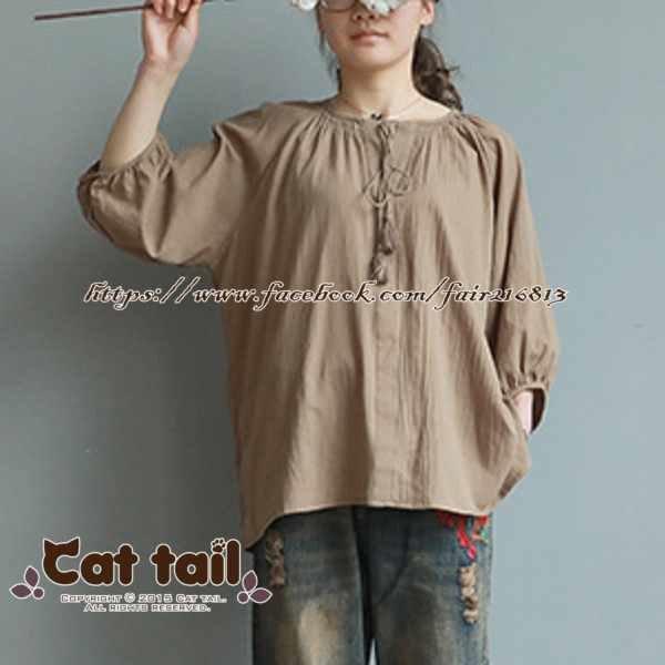 《貓尾巴》LZ-03173文藝休閒V領燈籠袖短袖上衣(森林系日系棉麻文青清新)