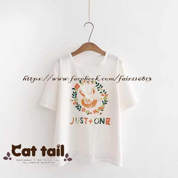 《貓尾巴》TS-0788日系文藝兔子花圈印花短袖T恤(森林系日系棉麻文青清新)