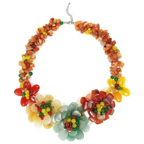 Multicolor Genuine Semiprecious Flower Garland Necklace 0