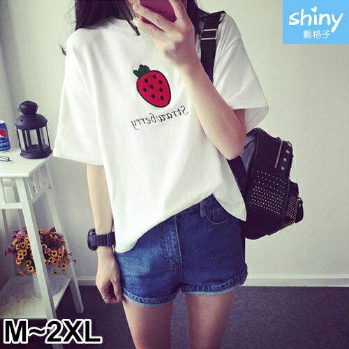 【D721】shiny藍格子-可愛滋味.草莓字母圓領短袖上衣