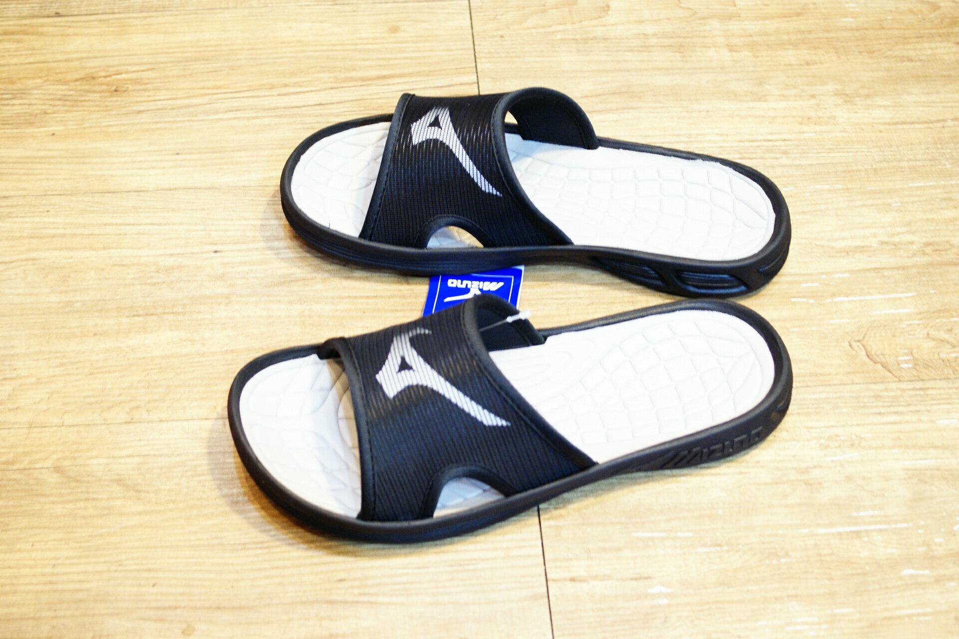 棒球世界全新MIZUNO美津濃運動拖鞋 黑色特價